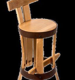 """chaise de cuisine """"brut de fut"""" en merrain recyclé."""