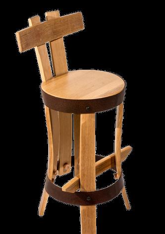 chaise de bar brut de fut h60 en merrain recyclé