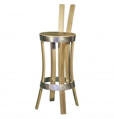 Chaise de bar brut de fût en inox