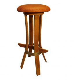 """Tabouret de bar en bois recyclé """"tastevin"""" assise cuir"""