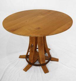 """Table ronde en bois recyclé """"Maitre de chai """""""