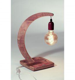 """Lampe à poser en bois recyclé """"brin de chêne"""", socle carré encoché."""