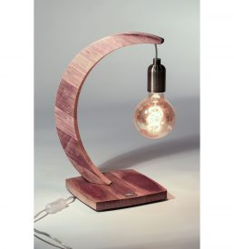 """Lampe à poser en bois recyclé """"brin de chêne"""",socle carré"""