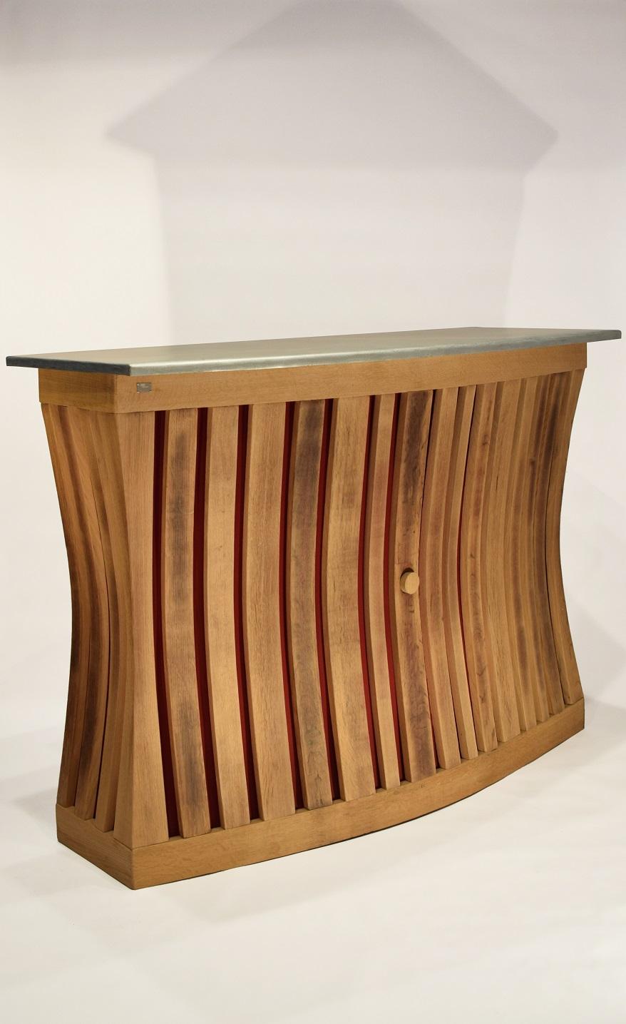 Meuble En Tonneau De Vin comptoir de bar « bar à vin » en bois recyclé, dessus zinc.