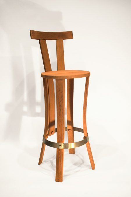 chaise de bar brut de fut 1 cercle avec dossier