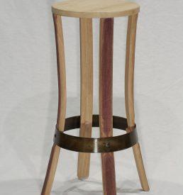 tabouret de bar brut de fut bois brut cercle bruni